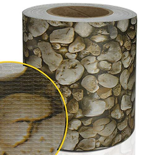 Certeo PVC-Sichtschutzstreifen | Für Gittermatten-Zäune | HxL 19 x 3500 cm | Stein| Zaunschutz Windschutz Zaunfolie