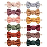 Pack of 12, Baby Girls Headbands Hair Bows Stretchy Nylon Hairbands for Newborn Infant Toddler Hair...
