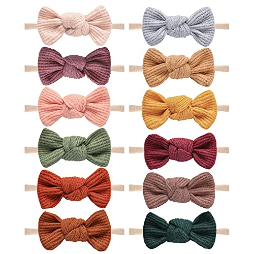 Pack of 12, Baby Girls Headbands Hair Bows Stretchy Nylon Hairbands for Newborn Infant Toddler Hair Accessories