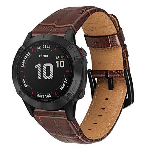 TRUMiRR Watch Band for Fenix 6X/6X Pro/6X Sapphire/5X/5X Plus, 26mm Quick Release Easy Fit Watchband Croco Grain Genuine Leather Strap Wristband for Garmin Fenix 3/3 HR / Descent MK1