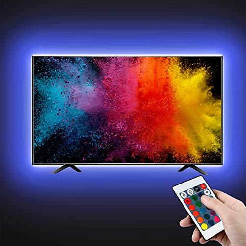 LED TV Hintergrundbeleuchtung, opamoo LED Strip 2M USB Streifen LED Beleuchtung mit 24-Key Fernbedienung 4 Modi LED Lichtband für 40 bis 60 Zoll HDTV TV-Bildschirm und PC-Monitor [Energieklasse A ]