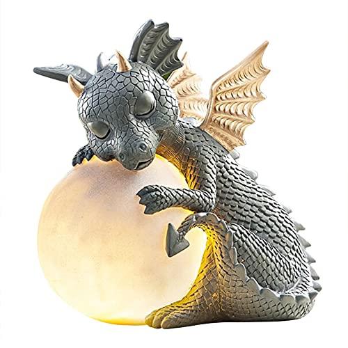 Dragon Decoration Solar Lampe - Harz Dragon Sleeping Meditation Statue Dekorationen Skulptur, Dragon Jardin Garden Decor Zubehör, Mystical Garden Dragon Solar LED-Lichter, Home Collecting Ornament