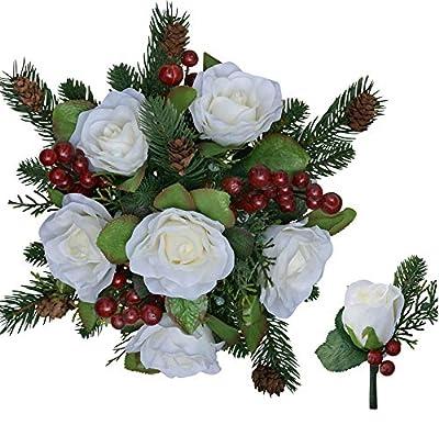 Winter Berry Rose Bridal Bouquet + Matching Boutonniere - Silk Wedding Flower - Ivory & Red- 12 in. Round