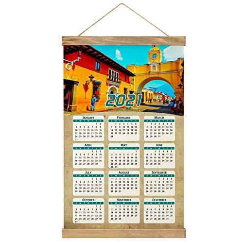 Guatemala Calendario de pared 2021 12 meses Lienzo Madera 20
