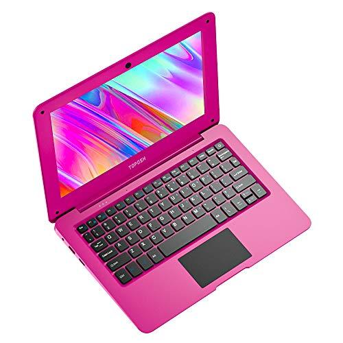 TOPOSH Notebook Mini Portatile 10,1 Pollici 2 GB RAM + 32 GB SSD Intel Atom X5-Z8350 Grafica Quad-Core 1,92 GHz, Laptop con Tastiera QWERTY-Rosa