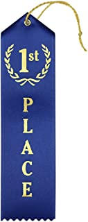 1st Place (Blue) Premium Award Ribbons with Card & String - 25 Count Metallic Gold foil Print – Made in The USA