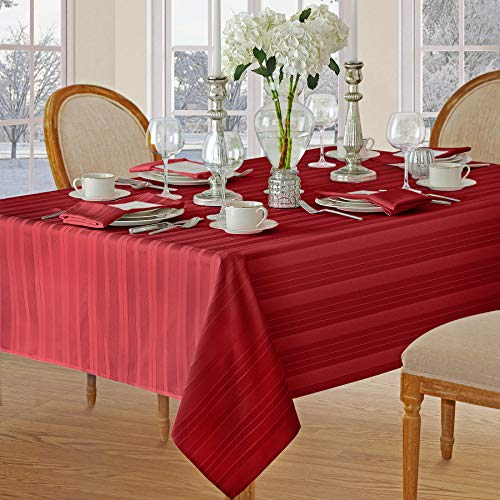 Christmas Satin Stripe No-Iron Soil Resistant Fabric Holiday Tablecloth - 60 X 84 Oblong, Red