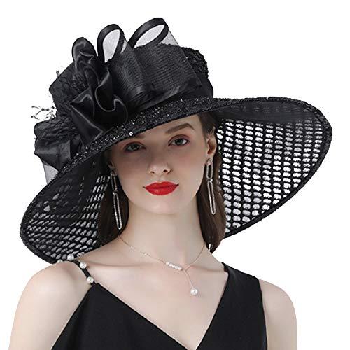 Sombrero Derby de Kentucky para Mujer, Sombreros de Organza de ala Ancha para el Sol, Sombrero de Verano, Gorra, Tocado, Iglesia, Fiesta de té, Boda, Sombrero Plano,Negro,One Size