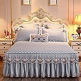 Falda de cama Tela de microfibra beige princesa encaje colcha Falda de lecho con algodón caliente de cama gruesa cubierta de cama cubierta de almohada reina king tamaño Para casa, hotel