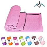 AngelBeauty Hot Yoga Towel with Carry Bag - Microfiber Non Slip Skidless Yoga Mat Towels for Yoga, Exercise, Fitness, Pilates (Violet)