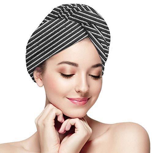 N/A Serviette à Cheveux en Microfibre Turban à séchage Rapide, Bonnet de Bain, Style Grunge Chevron Zigzags Triangles avec Pois Monochrome Arrangement Ethnique
