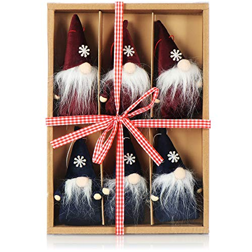 com-four 6X Colgantes Premium de Santa Claus para el árbol de Navidad, Varios Colgantes de Figuras de árboles de Navidad como Adornos para árboles, Adornos navideños o Etiquetas de Regalo