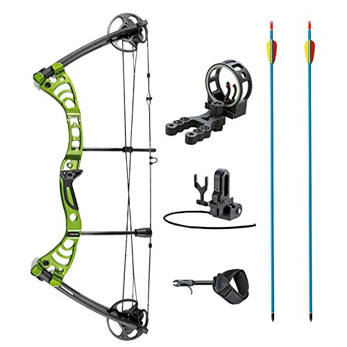 XGear Outdoors Compound Bow 30-55lbs 19'-29' with Max Speed 296fps, Right Handed, Green with Accessories