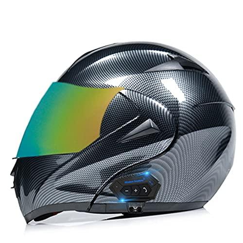 ABDOMINAL WHEEL Bluetooth Modular Casco,Bluetooth Casco De Motocicleta Modular Adulto con Función De Respuesta Automática,ECE Certificación Casco De Motocicleta Integral con Doble Parasol F,M=57~58cm