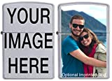 This Genuine Zippo Lighter is customizable with your photo or artwork and finished in a durable Gloss finish just like Zippo! We do not use stickers glued to the surface like others you have seen! Our custom imprints are of the same Zippo print quali...
