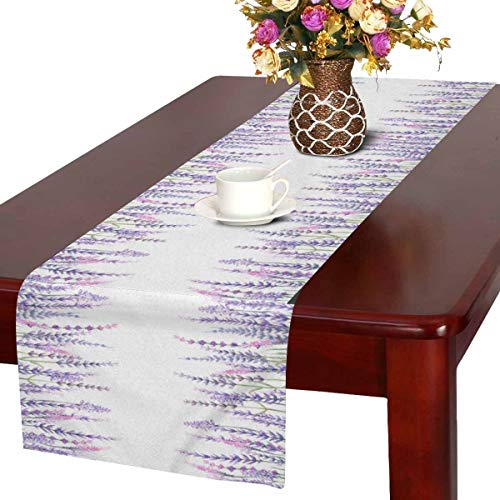 InterestPrint Watercolor Lavender Flowers with Plants Table Runner Linen & Cotton Cloth Placemat Home Decor for Wedding Banquet Decoration 16 x 72 Inches