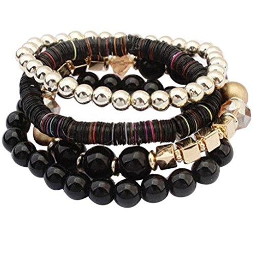 Mingfa.y 4-teiliges Armband-Set, Perlen, gewebt, geflochten, mehrschichtig, Charm-Armband, Armreif für Damen, Kunstharz, Schwarz , 7cm (elastic)