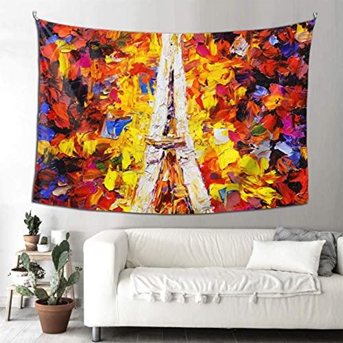 N\A Decoración de Pared para Mujer Pareja romántica con Tapiz de la Torre Eiffel Decoración de Pared de Granja Decoración de Pared Arte para Colgar en la Pared Hogar para Sala de Estar Dormitorio