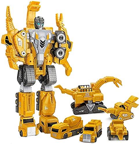5 En 1 Conjunto De Camiones De Construcción De Dinosaurios, Juego De Juguetes De Robot Transformador, Conjunto Magnético En La Emulación Grandes Figuras De Robots, 14.5 Pulgadas De Guerreros De Dinosa