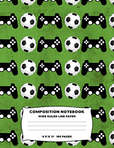 Composition Notebook: Soccer Video Game Controller Wide Ruled Line Large Size Journal Book To Write In Grass Green Sport Fan Themed Design Soft Cover