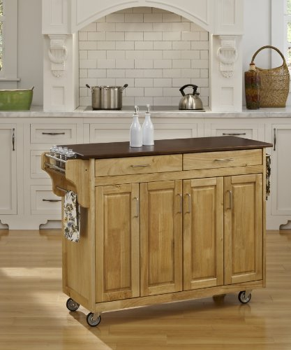 Natural Finish 4 Door Cabinet Kitchen Cart with Cherry Wood
