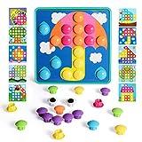 NextX Mosaik Steckspiel mit 46 Steckperlen und 10 Bunten Steckmosaik für Kinder ab 2 Jahre Steckspielzeug Pädagogische Baustein Sets Lernspielzeug (Grün 1)