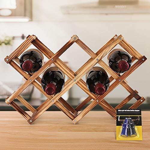 Sgokuno Countertop Wine Rack, 10-Bottle Wine Holder, Foldable Tabletop Free Standing Wooden Wine Storage Stand Holder, Great for Home & Kitchen Wine Shelf,Bottle Organizer, Wine Cellar, Bar, Pantry