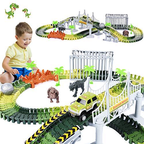 LetsGO toyz Kinderspielzeug ab 3-8 Jahre, Dinosaurier Spielzeug Auto Rennstrecken Spielzeug 2-8 Jahre Junge Geschenke Junge 4-10 Jahre Spielzeug ab 3-8 Jahren für Jungen Kinderspiel