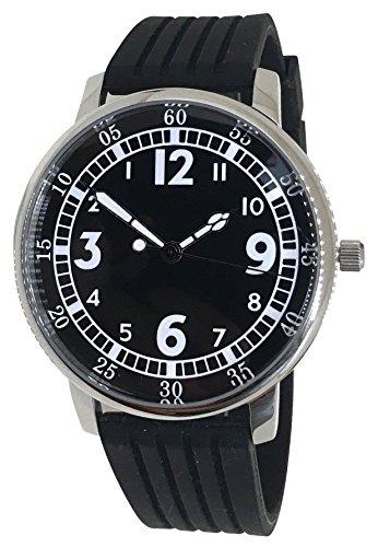 watchdesign atrás/marcha atrás reloj–color negro silicona