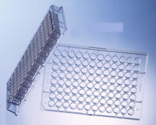 Greiner Bio-One 655980 Mikroplatte aus Polystyrol Advanced TC mit Deckel, steril, flacher Boden, Schornstein-Stil, 96 Mulden (100 Stück)