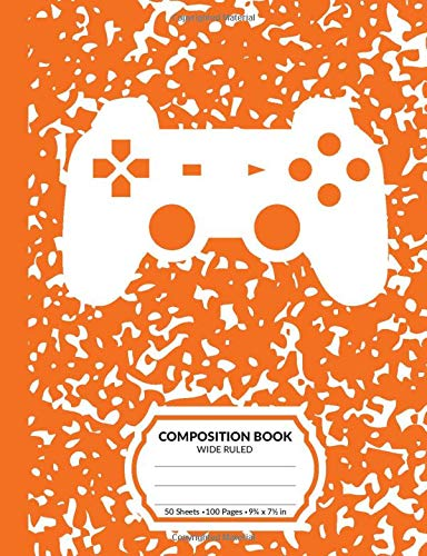 Composition Book: Gamer Orange Marble Pattern School Notebook | 100 Wide Ruled Blank Lined Writing Exercise Journal For Boys and Girls | Video Game Controller Back To School Gift For Students