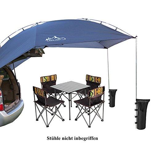 TentHome Auto Markise Sonnensegel für Wohnwagen Wohnmobil Zeltplanen Tragbare Tent Tarp Leichte Camping Shelter mit 2 St. Sandsäcke, grau