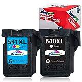Kingway 540XL 541XL - Cartuchos de tinta reciclados para Canon PG-540XL CL-541XL PG540 CL541 compatible con Canon Pixma MG4250 MG3650 MG3550 MG2250 MG3250 MG3600 MX475 MX395 MX535 MX375 MX525 MX435
