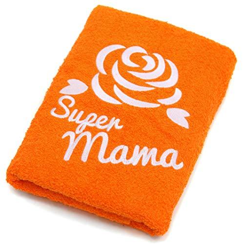 Abc Casa orange Handtuch für die Beste Super Mama zum Geburtstag, Muttertag, Jahrestag, Valentinstag, Weihnachten-eine praktische Geschenkidee für Mutter - EIN dauerhaft nützliches Geschenk