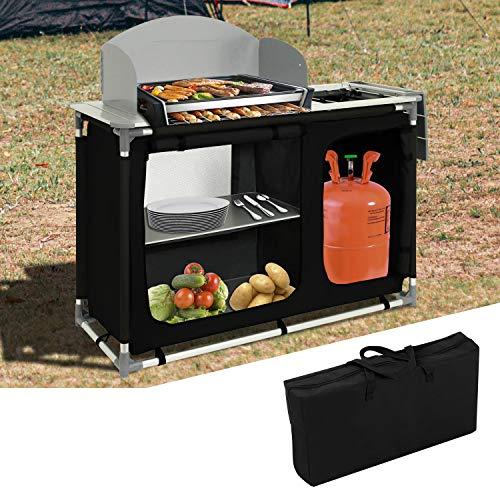 VINGO Campingküche mit Waschbecken | Campingschrank | Küchenbox | mit Aluminiumgestell | Reiseküche | Klappschrank | Zeltschrank | Outdoor Camping Küche | Modelle wählbar | Ink. Tragetasche