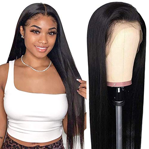 Crissel HD Transparent Lace Front Wigs Human Hair,150% Density Pre Plucked with Baby Hair, Brazilian Straight 13x4 Lace Frontal Wigs Human Hair for Black Women Natural Color(20 Inch)