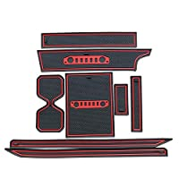 スズキジイムニー2019カーインテリアアクセサリーのためのラテックス滑り止めゲートスロットパッドカップホルダーマットノイズリダクション 后 カーインテリアの装飾 ステッカー 装飾 (Color : 赤)
