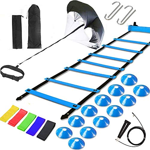 Agility Ladder Speed Training Equipment, Includes 12 Rung Agility Ladder,Running Parachute,Jump Rope,Resistance Bands,12 Resistance Cones for Football,Basketball,Hockey Training Athletes