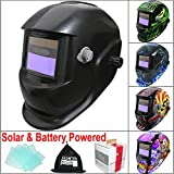 Leopard {Black} Battery & Solar Powered Auto Darkening Grinding Wide Shade Range DIN9-13