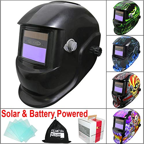 Leopard {Black} Battery & Solar Powered Auto Darkening Grinding Wide Shade Range...