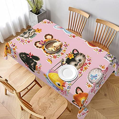 Mantel Rectangular,Lindos animalitos sobre Fondo Rosa, Manteles Lavable Reutilizable de Mantel para jardín Habitaciones decoración de Mesa 152 x 228cm