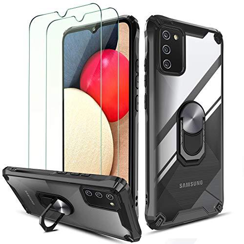 QHOHQ Cover per Samsung Galaxy A02S/M02S con 2 Pezzi Pellicola Protettiva,[360° Rotante Staffa] [5 Volte Livello Militare Anti-Caduta],Cover Posteriore Trasparente per PC,Bordo in TPU Morbido-Nero