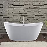 Empava Acrylic Freestanding Bathtub 59 inch Contemporary Stand Alone Deep Soaking Tubs with Overflow and Drain in White