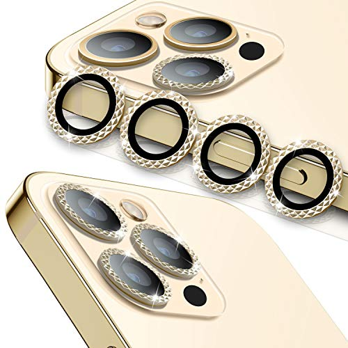 [3+1] WSKEN for iPhone 12 Pro 6.1 inch Camera Lens Protector,[Diamond Series] Luxury Aluminum Alloy Metal Frame Lens Cover [Strong Adhere] Screen Protection Case -Diamond Gold