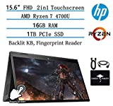 """2020 HP Envy x360 2in1 15.6"""" FHD Touch-Screen Newest Flagship Laptop, AMD Ryzen 7 4700U 8-core(Beat i9-8950HK, up to 4.1GHz), 16GB Memory, 1TB PCIe SSD, Fast Charge, Backlit-KB, w/GM Accessories"""