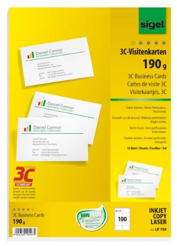 SIGEL LP790 Visitenkarten 3C, 100 Stück (10 Blatt), hochweiß, glatter Schnitt rundum, 190 g, 85x55 mm - weitere Stückzahlen