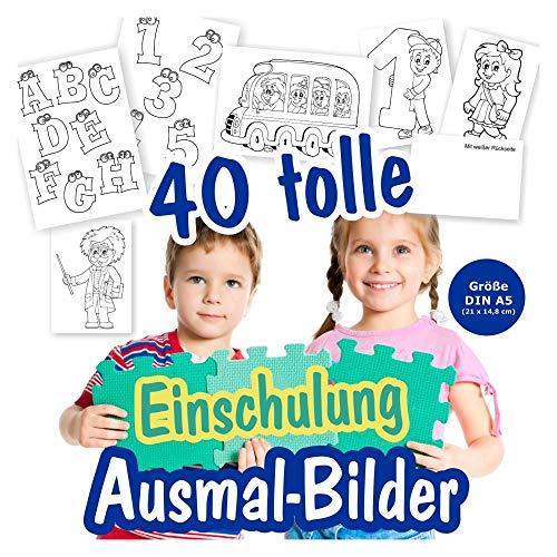 Karten Einschulung Ausmalbilder für Kinder, Mädchen und Junge. Malbilder mt 40 verschiedenen Schul-Motiven. Als Deko auf der Feier oder zum Verschenken an die Oma usw. 40 Stück.