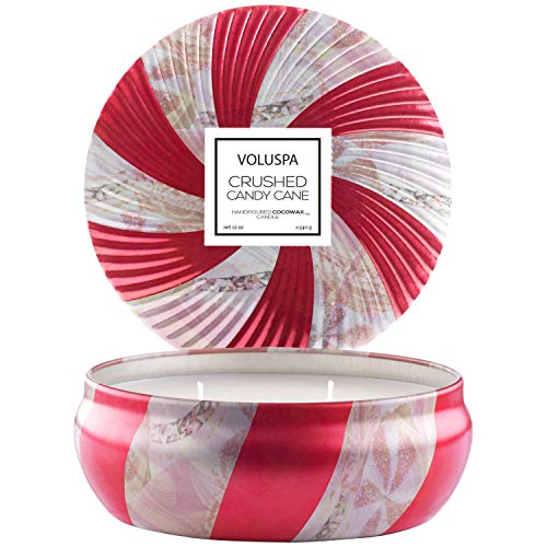 Voluspa Crushed Candy Cane Candle 3 Docht-Kerze in Blechdose