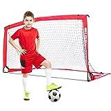 NetPlayz Soccer Goals - Portable Football Goals, Pop-up Net for Kids and Teens - Backyard Training & Team Games 6' x 3', red (NOS036402020)