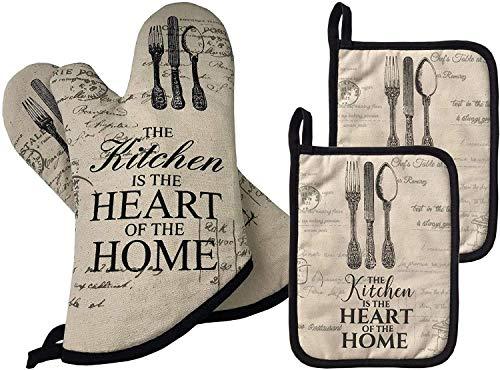HelpCuisine® 4er Set Premium Qualität hitzeschutz 2 x Ofenhandschuhe und 2 x Topflappen Professionelle aus Baumwolle